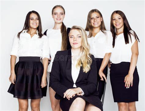 Dress Code 231 White lot of businesswomen happy smiling celebrating success of team victory on work dress code black