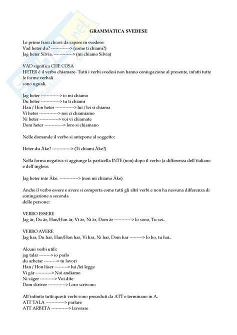 lettere svedesi svedese grammatica appunti