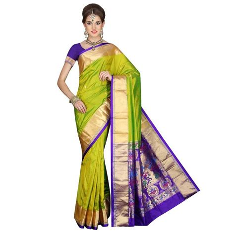 Online Shopping For Home Decor In India by Buy Pea Green Traditional Paithani Pure Silk Sarees Online