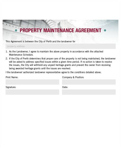 Property Maintenance Contract by 6 Property Contract Sles Templates In Pdf