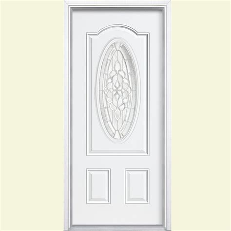 exterior doors oakville masonite 36 in x 80 in oakville 3 4 oval lite painted