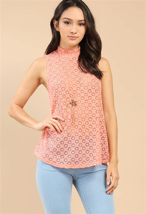 Mock Neck Lace Sheer Top sheer mock neck lace top w necklace shop dressy tops at