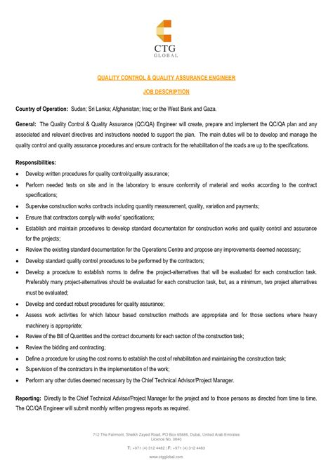 Quality Assurance Technician Description by Cover Letter Quality Assurance Inspector Sle Resume Resume Daily