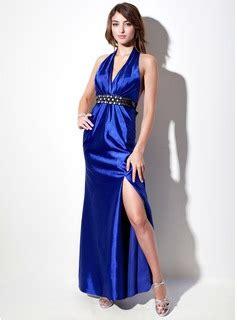 Blue Dress 25919 sheath column halter floor length charmeuse evening dress