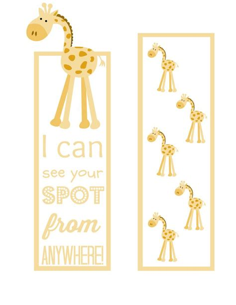 Printable Giraffe Bookmarks | giraffe bookmarks that won t lose your page any book