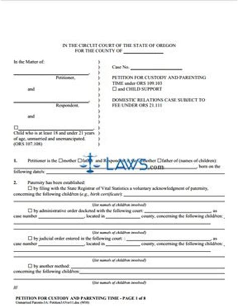 form petition for child custody and child support oregon