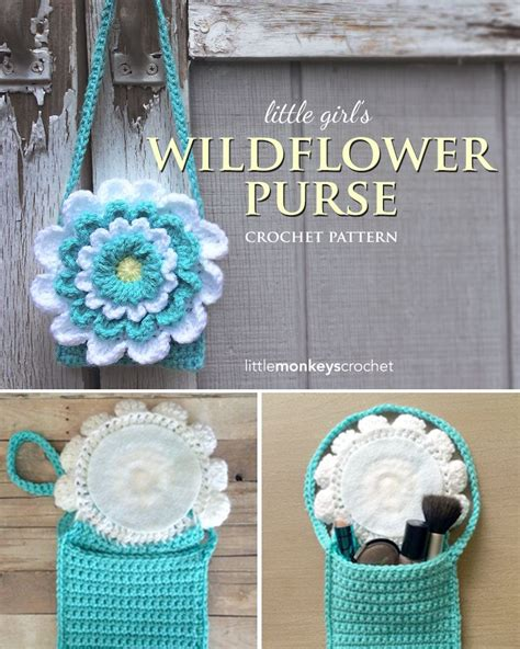 crochet pattern child purse little girl s wildflower crochet purse free toddler