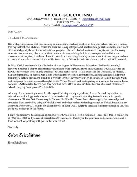 Elementry School Cover Letter by Cover Letter Exles For Elementary Cover Letter Templates