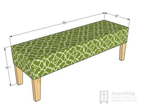 size of bench ana white easiest upholstered bench diy projects