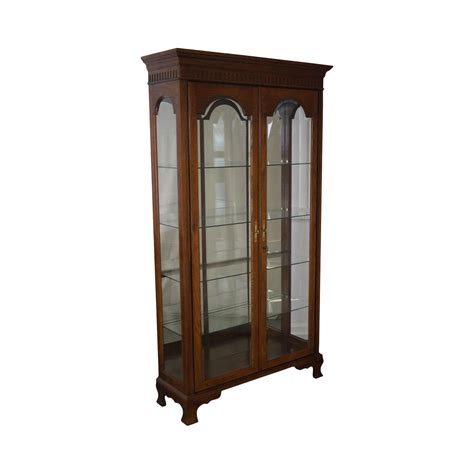 lighted curio cabinet oak jasper traditional oak lighted display curio cabinet