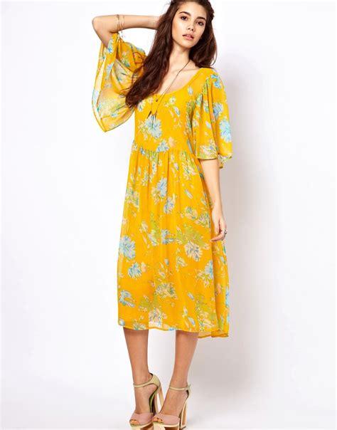 asos asos midi dress with kimono sleeve in floral print