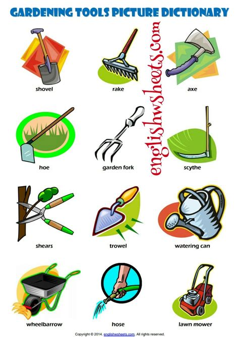 esl printable gardening tools vocabulary worksheets