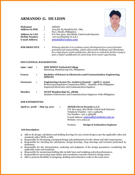 Curriculum Vitae Sle Format Philippines Resume Format Philippines Free Resume Ixiplay Free Resume Sles