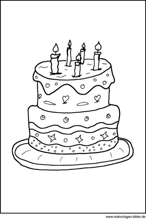 ausmalbild kuchen malvorlage einer geburtstagstorte kuchen ausmalbild