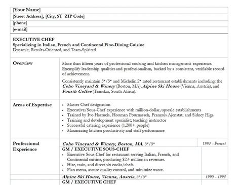 Exle Resume Chef Excel Templates Excel Template Excel Business Templates Business Excel Template Excel