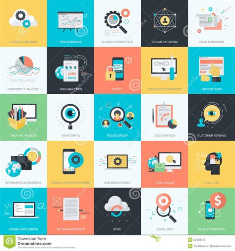 home design social network set of flat design style icons for seo social network e