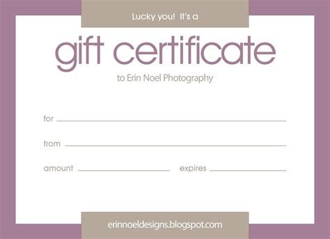 gift certificates templates purple gift certificate template