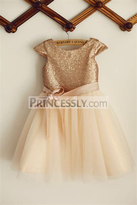 Dress Anak Pink Flower Belt Import cap sleeves chagne sequin tulle wedding flower dress with belt