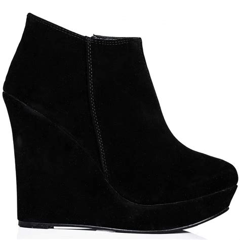 lyla suede style wedge heel platform ankle boots black