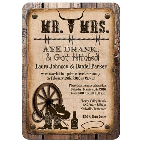 wedding invitations western post wedding invitation rustic mr mrs western ate drank got hitched