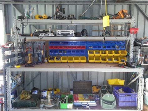Garage Shelving Cairns This Workbench Even Has Parts Bins To Hold All The Nuts