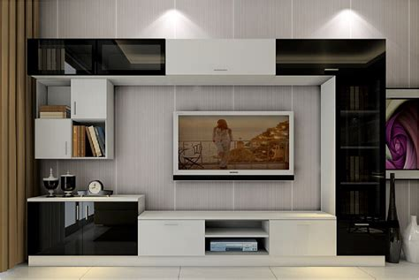 wallpaper design for tv unit 3d black and white tv cabinet with lavender wallpaper