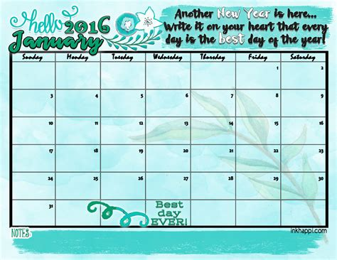 Calendar January January 2016 Calendar Hello New Year Inkhappi