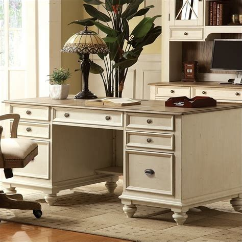 Antique White Home Office Furniture Coventry Two Tone Executive Desk In Dover White 32535