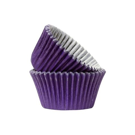 Cake Cases 125mm Base 35mm Bunga design a cake doric plain muffin cases purple pack of 50