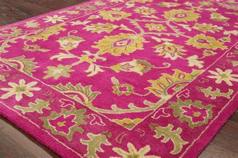 fuschia rug traditional yellow fuschia turquoise tufted area rug wool ebay