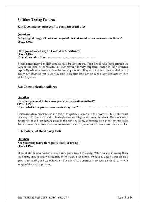 Erp Tester Cover Letter by Erp Testing Failures Questionnaire