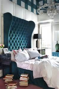 Peacock blue headboard eclectic bedroom decor demon