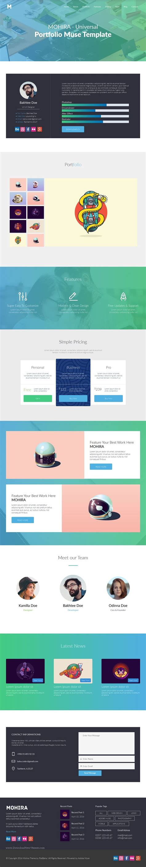 Mohira Is Universal Muse Portfolio Template With Clean And Simple Contact Form Page Download Adobe Muse Portfolio Templates Free