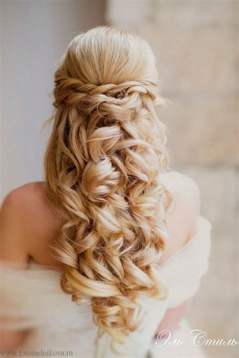 hairstyles down and curled elegant wedding hairstyles half up half down tulle
