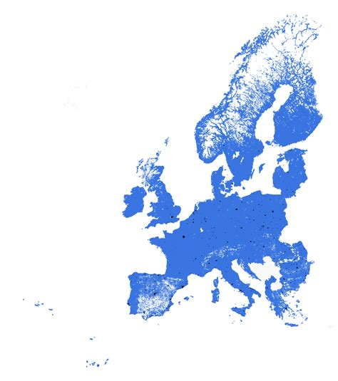 european population density the black blue areas