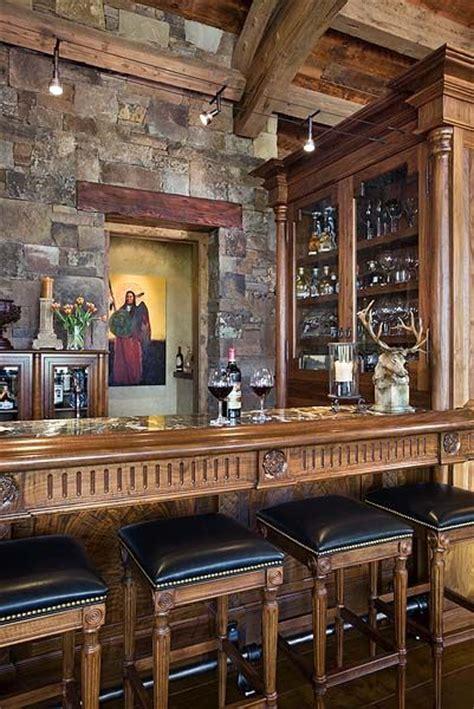 Timber Home Bar Wall Wood Countertop Glass Cabinets Bar Wood