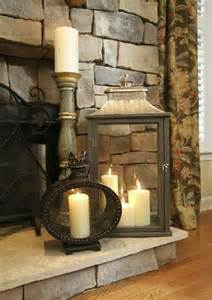 Decor For Fireplace by Lantern On Fireplace Hearth Decorating Inspiration