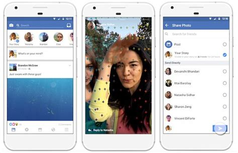 horizontal layout instagram facebook adds stories feature to news feed daily mail online