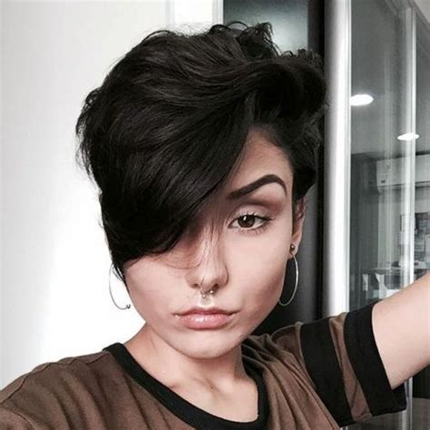 pixie cut with longer fringe one siidde pixie haircuts for thick hair 40 ideas of ideal short