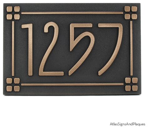 craftsman house numbers american craftsman address plaque with lines 12 quot x 8 quot in bronze patina craftsman