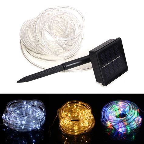Solar Rope Lighting Outdoor 23ft 50 Led Solar Power Rope Lights Waterproof Outdoor Garden Ebay