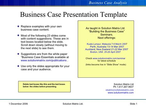 business case presentation template ppt business