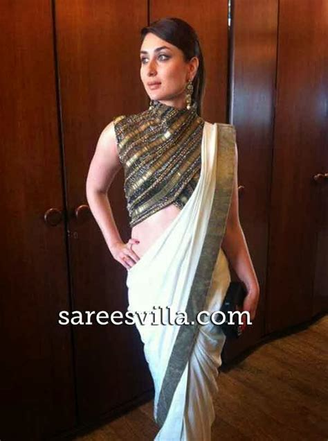 Kareena In High Neck Blouse by Kareena Kapoor In Anand Kabra Saree Sarees Villa