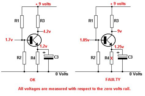 base emitter resistor transistor emitter resistor open circuit tutorials transistor fault finding electronic hobby projects