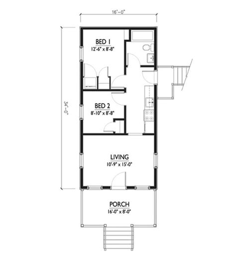 5 sq feet cottage style house plan 2 beds 1 baths 544 sq ft plan