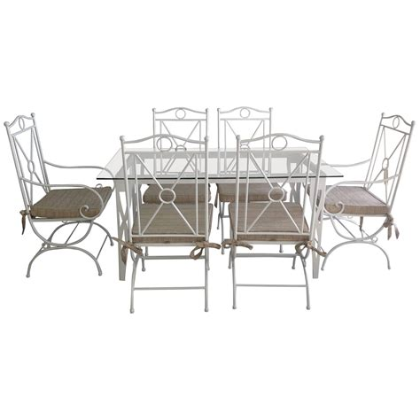 Handmade White Wrought Iron Patio Dining Set Garden Wrought Iron Patio Table Set