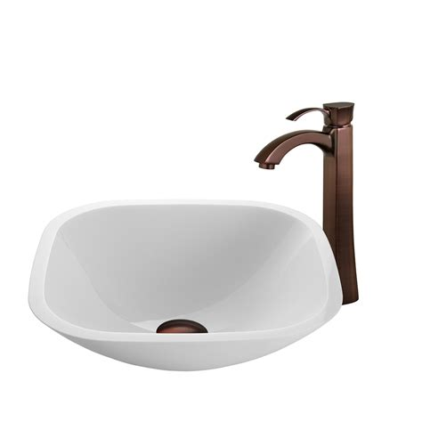 vigo bathroom sinks shop vigo vessel sink faucet set white glass vessel