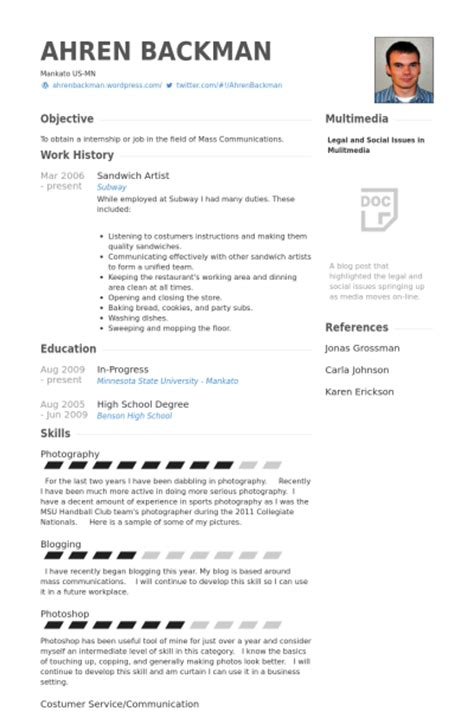 Resume For Subway sandwich artist resume sles visualcv resume sles
