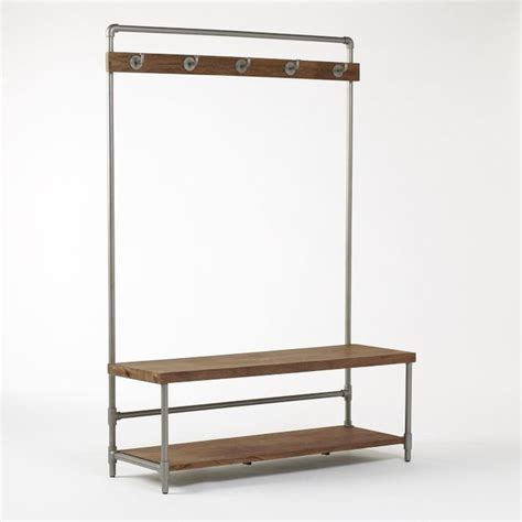 modern hall tree bench pipeline hall tree industrial hall trees by west elm