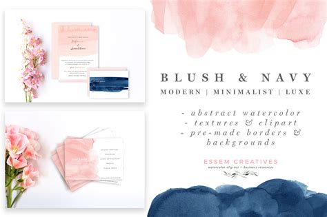 Blush and Navy Abstract Watercolor Splash Clipart
